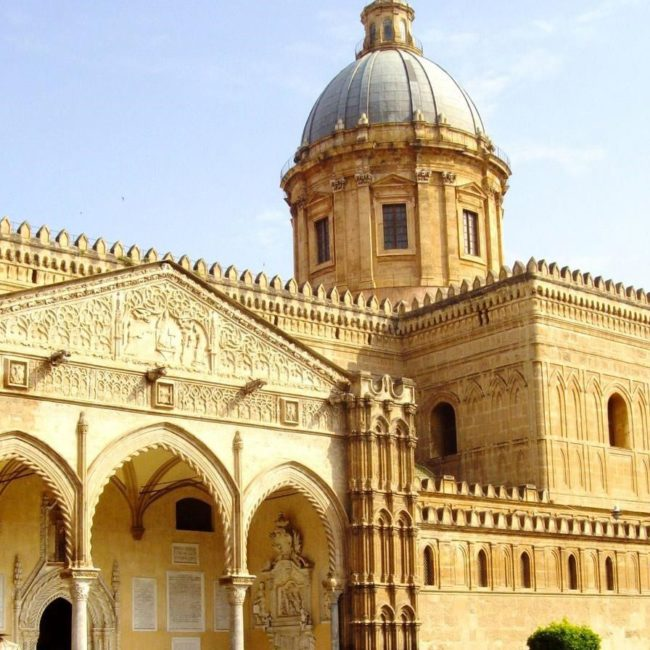 cathedral of Palermo during a sunny day with blue and clear sky